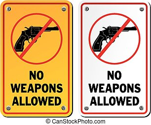 no weapons allowed - revolver icons - suitable for warning...