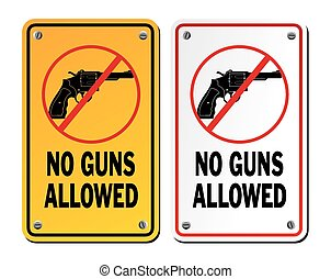 no gun signs - revolver - suitable for warning signs