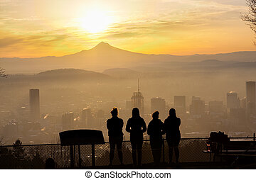 Beautiful Vista of Portland, Oregon - Joggers taken in the...