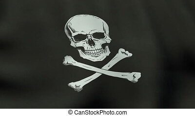 Loopable waving Jolly Roger pirate flag animation -...