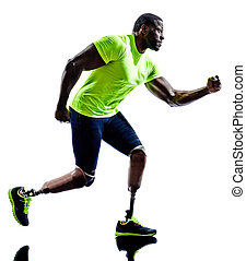 handicapped man joggers running legs prosthesis - one...