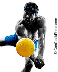 man playing beach volley silhouette - one caucasian man...