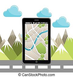 gps app design, vector illustration eps10 graphic