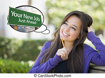 Young Woman with Your New Job Sign Thought Bubble - Pensive...