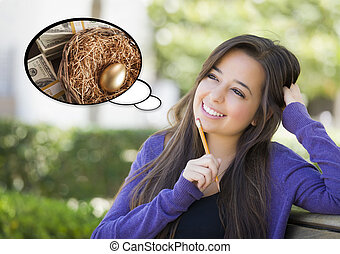 Pensive Woman with Money and Nest Egg Thought Bubble -...