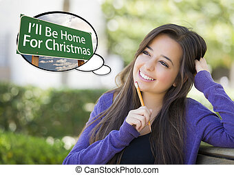 Woman, Thought Bubble of Ill Be Home For Christmas Sign -...