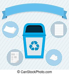 Paper selective collection - Blue trash for the selective...