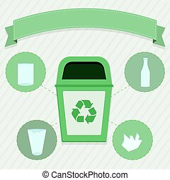 Glass selective collection - Green trash for the selective...