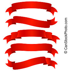 red ribbons - set of five curled red ribbons, illustration
