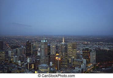 aerial view of Melbourne at night