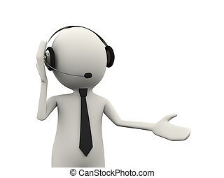 3d person headphone customer help support - 3d illustration...