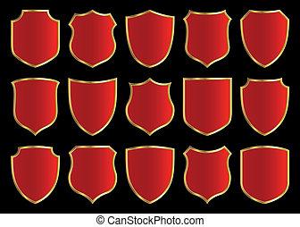 shield design set - red shield with golden border; design...