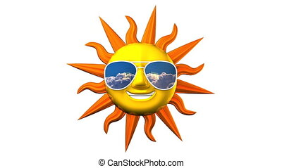 Smiling Sun With Sunglasses On White Background