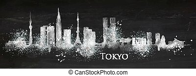 Silhouette chalk Tokyo - Silhouette of Tokyo city painted...