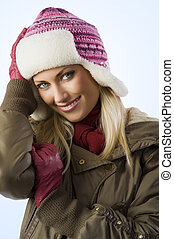girl ready for winter - beautiful blond girl wearing a...
