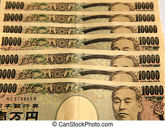 A pile of 10000 Japanese Yen notes