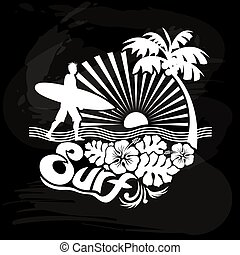 Surfer walking, Tropical calligraph - Surfer walking on the...
