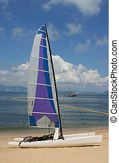A catamaran parked on the beach on Chung Chau - Hong Kong