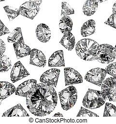 diamantes, 3D, en, composición, como, concepto,