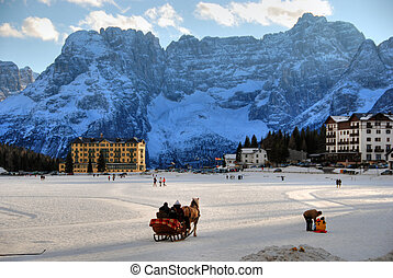 Misurina Lake at Christmas, Italy - Typical scene in...
