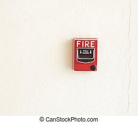 fire break glass Fire alarm in the alarm.
