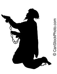 Men in chains - Silhouette of poor men in chains on a white...
