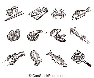 Foodstuffs - Collection foodstuffs of seafood icons on white...