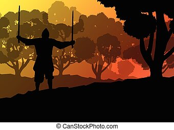 Medieval warrior, crusader vector background landscape...