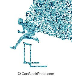 Hurdle racer barrier running vector background Winner...