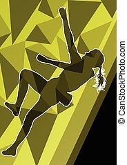 Children girl rock climber sport athlete climbing wall in...