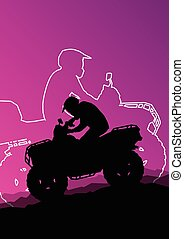 All terrain vehicle quad motorbike riders in wild nature...