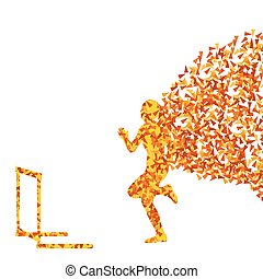 Hurdle racer barrier running vector background. Winner...