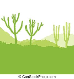 Cactus desert ecology concept for poster