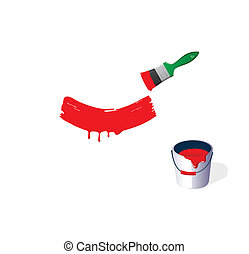 Bucket with a paint and a green brushVector illustration -...