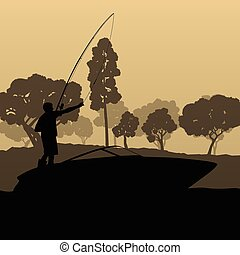 Man fishing on lake from boat vector background landscape