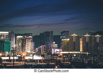Las Vegas Strip Panorama. Vegas Skyline at Night. Nevada,...