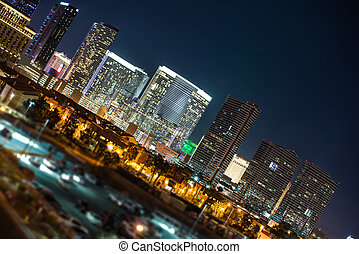 Las Vegas Strip Vista at Night. City of Las Vegas, Nevada,...