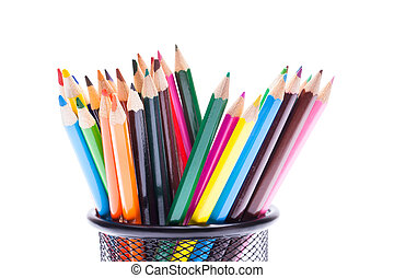 color pencils in metal pot on a white background