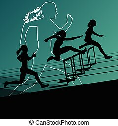 Woman hurdles barrier running - Active women girl sport...