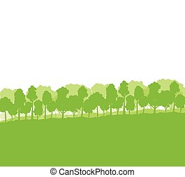 Forest trees silhouettes landscape for poster