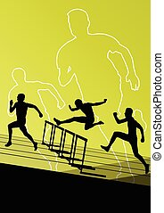 Hurdles barrier running silhouettes - Active young men sport...
