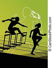 Woman hurdles barrier running - Active women girl sport...