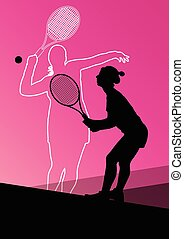Tennis players active sport silhouettes vector abstract...