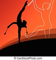 Active young women calisthenics sport gymnasts silhouettes...