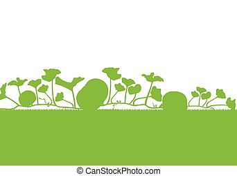 Pumpkin plants field vector background ecology green concept