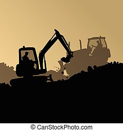 Excavator loader hydraulic machine tractors and workers...