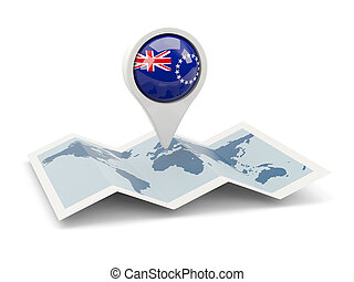 Round pin with flag of cook islands on the map