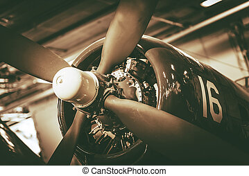 Vintage Military Aircraft Propeller Closeup Photo. Vintage...