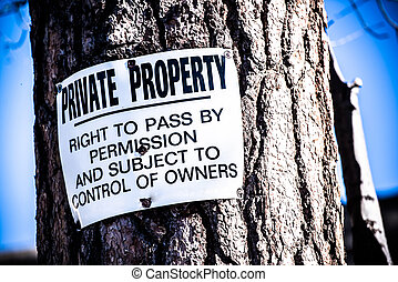 Private Property Sign - Private Property Tree Sign Right To...