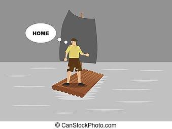 Ragged Shipwreck Survivor Stranded in Sea - Vector cartoon...